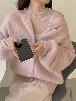 多色優雅微光網紗內搭上衣-粉色