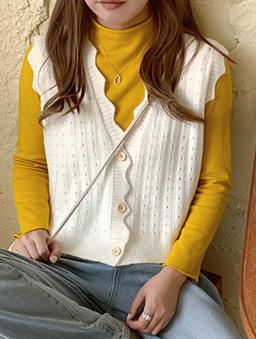 多色甜甜棉花糖針織背心-白色