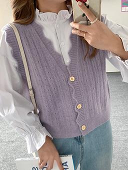 多色甜甜棉花糖針織背心-紫