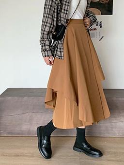 不規則氣質傘襬中長褲裙-駝