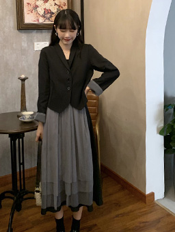 黑灰拼接層次感背心洋裝-黑灰