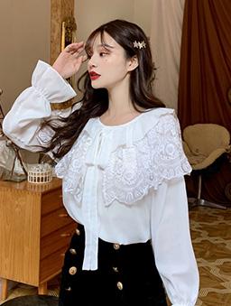 雙層蕾絲領片雪紡上衣-白色