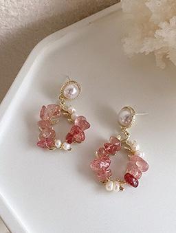 925銀針草莓冰晶耳環-金