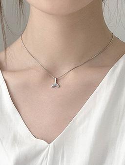 人魚尾巴鑽石鎖骨練-銀