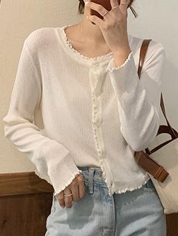 多色甜美氣質捲邊針織上衣-白色