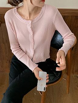 多色甜美氣質捲邊針織上衣-粉色