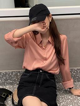 氣泡香檳微光襯衫上衣-粉紅