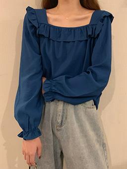多色方領小荷葉純色上衣-土耳其藍