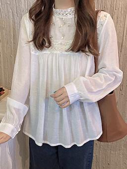 小立領法式刺繡蕾絲上衣-白色