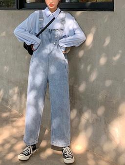 街頭潮流牛仔吊帶褲-藍