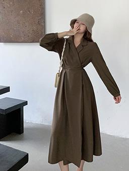 小姐姐綁帶西裝連身裙-軍綠
