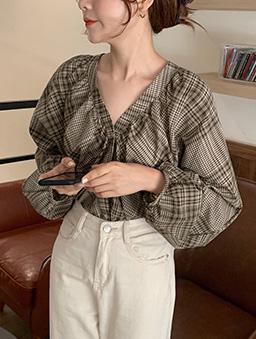 蒙布朗格紋V領上衣-咖啡