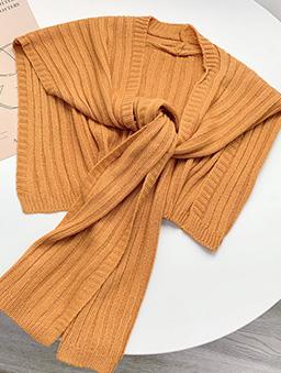 多色質感針織披肩-橘