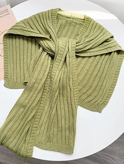 多色質感針織披肩-綠