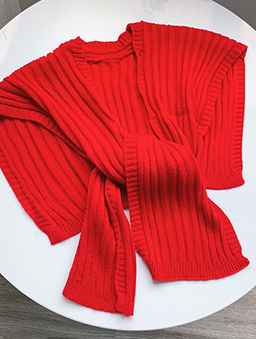 多色質感針織披肩-紅