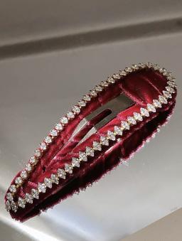 法式小碎鑽絲絨髮夾-紅