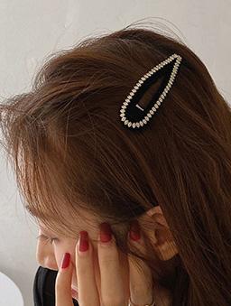 法式小碎鑽絲絨髮夾-黑
