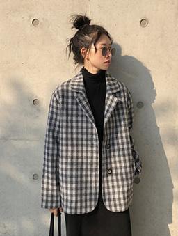 黑芝麻千層格紋西裝外套-黑白