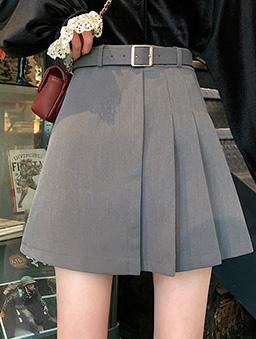 不對稱造型百褶裙(附腰帶)-灰