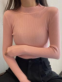 多色秋款基本坑條內搭上衣-粉色