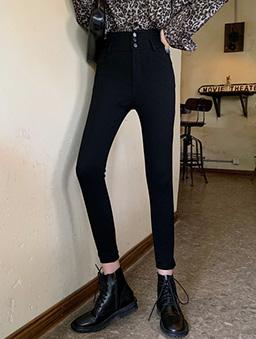 小一碼高腰彈力貼腿褲-黑