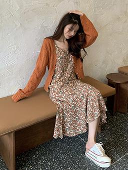 畫廊彩繪碎花吊帶洋裝-橘