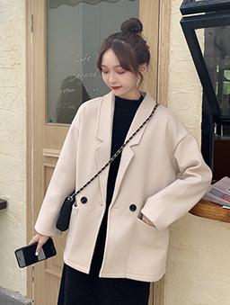 簡約純色寬版短大衣外套-杏