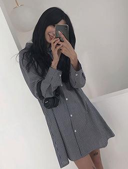 多色海洋調條紋襯衫洋裝-黑