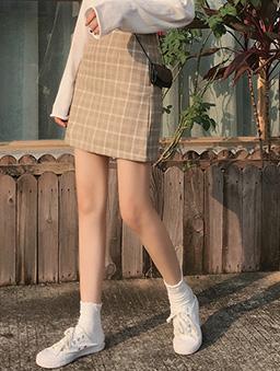 多色和菓子格紋A字裙-杏