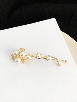 綻放的花蕊珍珠髮夾-金