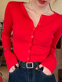 多色短版圓領針織開襟上衣-紅