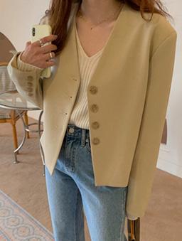 單排釦無領休閒西服外套-淺黃