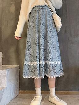 多色氣質蕾絲傘襬長裙-藍