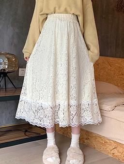 多色氣質蕾絲傘襬長裙-杏
