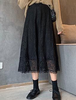 多色氣質蕾絲傘襬長裙-黑
