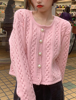 麻花捲針織多色開襟外套-粉紅