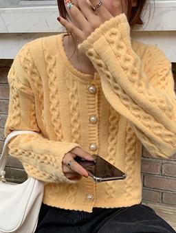 麻花捲針織多色開襟外套-黃