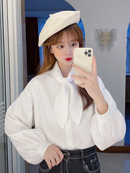 造型領巾多色襯衫上衣-白色