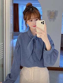 造型領巾多色襯衫上衣-藍