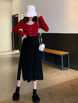 兩片造型開衩針織裙-黑