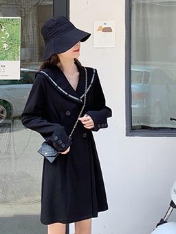60年代復古感翻領洋裝-黑