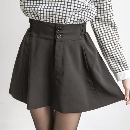 素色雙釦鬆緊帶傘狀短裙