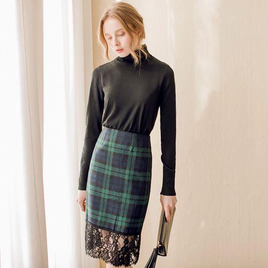 蕾絲拼接下襬格紋窄裙