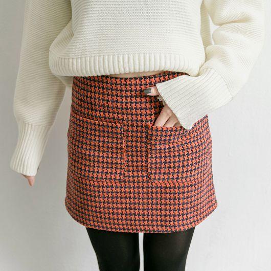 千鳥格紋雙口袋毛料短裙