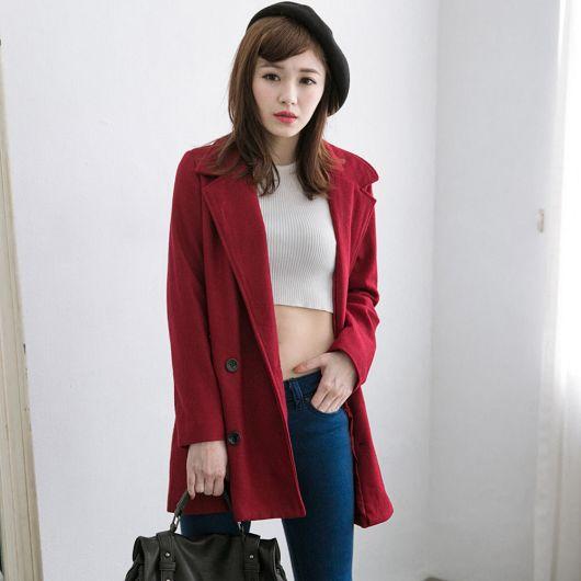 素面雙排釦毛料大衣外套