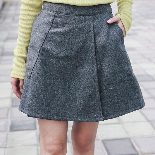 斜開裙片毛呢短裙