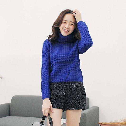 高領粗針織素色毛衣