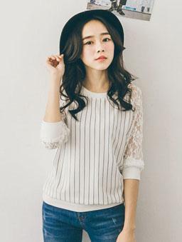 條紋蕾絲長袖拼接T恤-白色