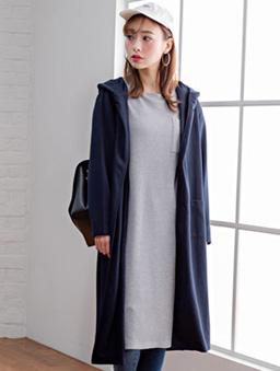 夢展望-素色長版口袋連帽外套-深藍