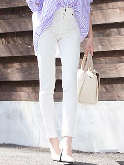夢展望-彈力貼身窄管長褲-白色